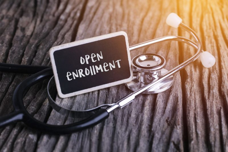 Open Enrollment Sign with Stethoscope