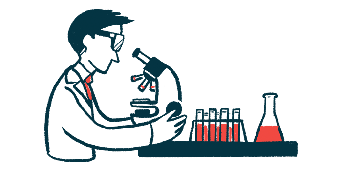 new viral vector for gene therapy/Muscular Dystrophy News/scientist looking at microscope in lab clinical research illustration