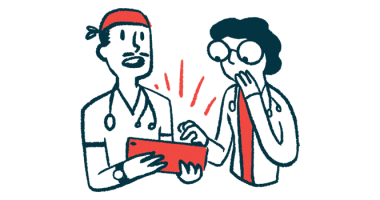 COVID-19 impact on mental health/Muscular Dystrophy News/two doctors with tablet conferring illustration