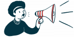SRP-9001   Muscular Dystrophy News   Illustration of person speaking through megaphone