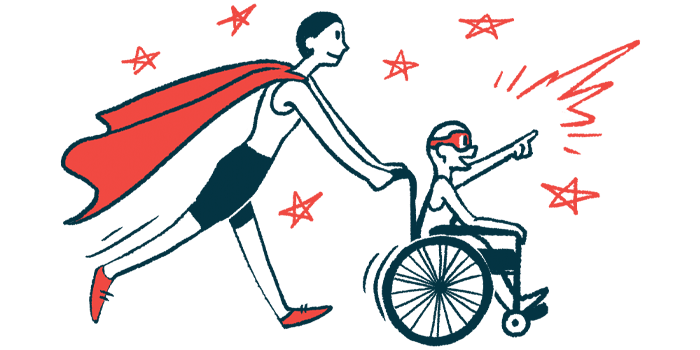 rare disease clinical trial participants | Muscular Dystrophy News | Illustration of woman in cape pushing child in wheelchair