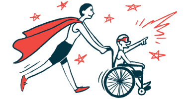 All Wheels Up for airplane accessibility   illustration of child in wheelchair pushed by adult with cape